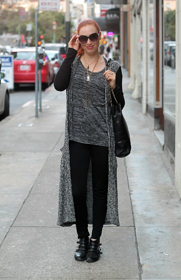 Caity Shreve - Anthropologie Duster, Banana Republic Marbled Knit, Piperlime Studded Ankle Boots - 50 Shades of Grey