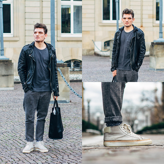 Florian Roser - Tigha Jacket, Uniqlo T Shirt, Asos Pants, Adidas Bag, All Saints Sneakers - Mr. Casual