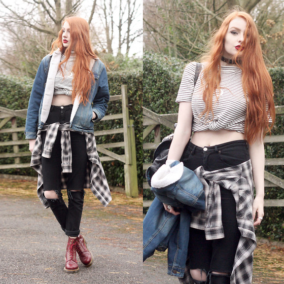 Olivia Emily - Asos Borg Lined Denim Jacket, Asos Striped Top, Asos Ripped High Waist Jeans, Vintage Plaid Flannel Shirt, Dr. Martens Shiraz Pascal Boots - Double Denim.