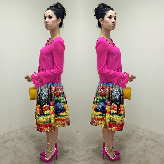 Stephanie Rami - L'amour Blouse, P.Kid Chicks Fashion Skirt, Lola Shoetique Heels, Steve Madden Clutch - Pink nation