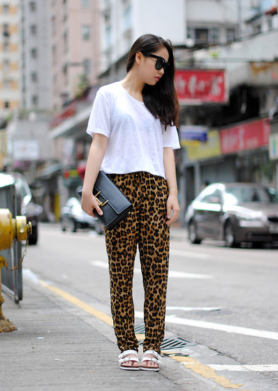 Meijia S - Alexander Wang White T Shirt, Zara Leopard Pants, Saint Laurent Bag - Some things take time