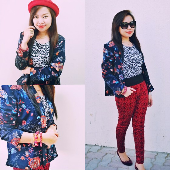 Krissy Pronto - Max Fashion Blazer, Splash Printed Pants, Jelly Bean Inner Top, Cotton On Big Cat Sunnie - Mixing Prints