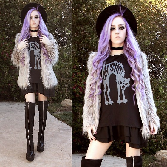 Kirsten Vogel - Social Decay Oh Sh!T Tee, Jeffrey Campbell Boots, Forever 21 Faux Fur Coat - Bad Luck