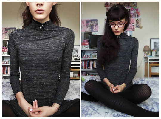 Izzy Humphreys - New Look Grey Speckled Turtle Neck Swing Dress, New Look Velvet And Rose Gold Choker, Ebay Mock Suspender Ribbed Tights - I'll give you one more time//we'll give you one more fight