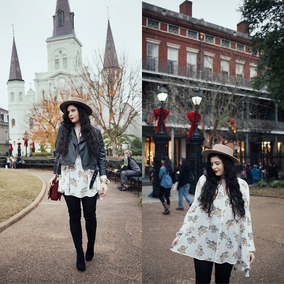 Noelle Downing - Free People Floral Dress, Free People Thigh High Boots, Free People Camel Hat - The French Quarter