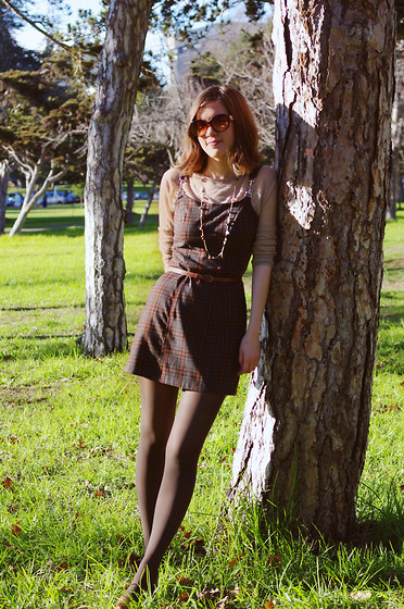 Kelsey Sutherland - Coach Sunglasses, Forever 21 Sheer Taupe Sweater, Old Navy Gold Necklace, La Belle Plaid Dress, Forever 21 Brown Waist Belt, Gap Brown Tights - Plaid