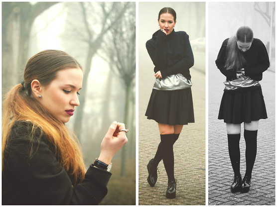 Braidsandeyeliner - Skirt, Mango Shoes, H&M Socks, H&M Rings, Only Coat - Foggy Amsterdam