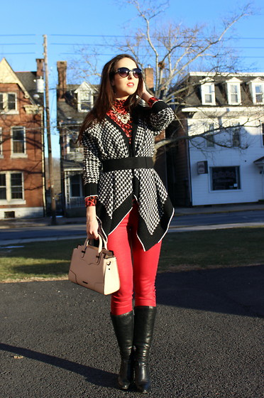 Mypink Boudoir Kohl S Jennifer Lopez Forever 21 Houndstooth Cardigan Vero Moda Coated Red Pants Sacha Black Leather Boots Rebecca Minkoff Blush Pink Structured Handbag Mixing Patterns With A Splash Of Red Lookbook
