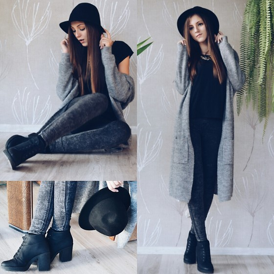 Emma Pavel - Bershka Black Boots, H&M Black Hat - Shades of Grey