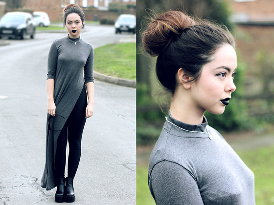 Jen Lou M - Topshop Velvet Lips, Asos Half Moon Choker, Boohoo Top With Side Split, Boohoo Disco Pants, Zerouv Cat Eye Sunglasses, Boohoo Cleated Boots - Cleated