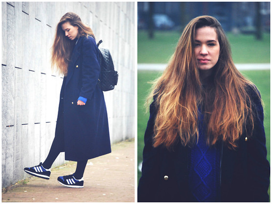 Braidsandeyeliner - Episode Coat, Zara Knitted Sweater, Adidas Sneakers - Why So Blue?