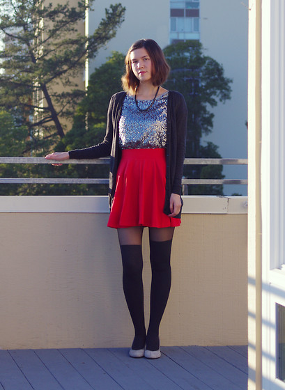 Kelsey Sutherland - Forever 21 Black Necklace, H&M Long Grey Cardigan, Gap Light Grey Sequined Shirt, Pins And Needles Red Circle Skirt, Forever 21 Grey Knee High Tights, Primark Grey Wedges - Red and Sequins