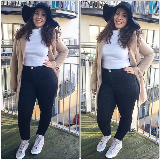 Andrea Da Silva - Missguided Floppy Hat, Missguided Turtle Neck Ribbed Crop, Asos Camel Coat, Asos High Waist Pants, Nike Blazer - Happy Monday!!