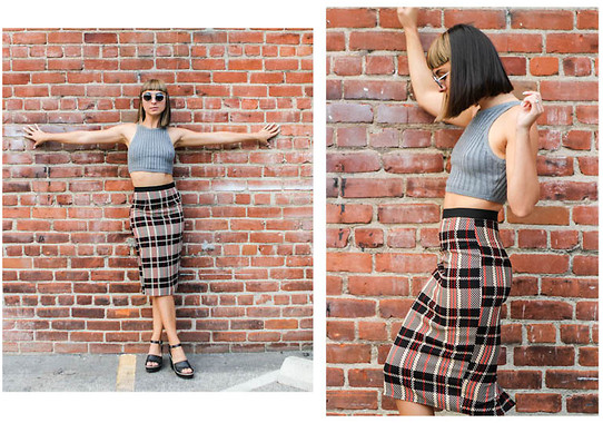 Chanelle L.™ - Lulu*S Plaid Pencil Skirt, Lulu*S Crop Top, Penelope's Vintage Sunglasses - 2015 Look