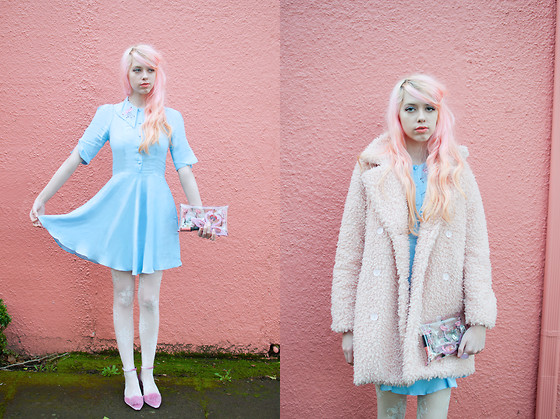 Kailey Flyte - Coco Fennell Flamingo Dress, Missguided Fluffy Coat, Asos Pom Pom Shoes, Klear Klutch Clutch - Cotton Candy