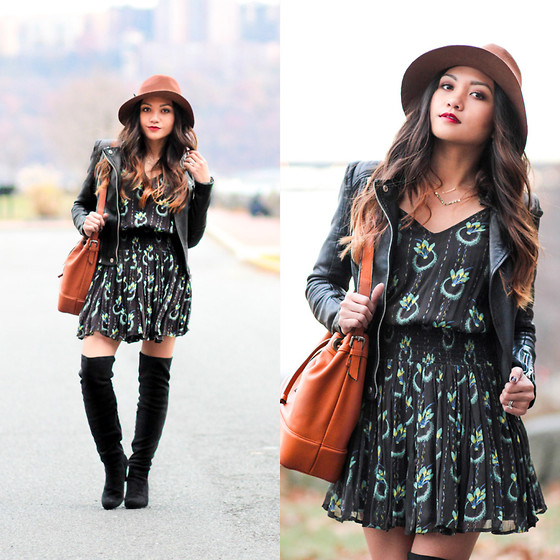 BLESSIE - Free People Printed Dress, Zara Bucket Bag, Merona Brown Fedora - GO WITH THE FLOW