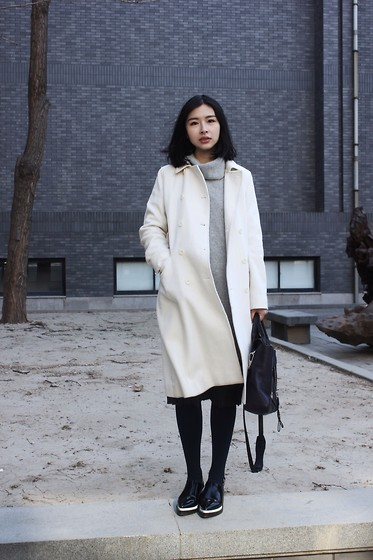 Izzie F - 3.1 Phillip Lim Bag, H&M Gray, Coat, Zara Shoes - So cold