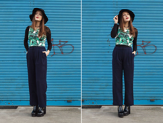 Emma Istvanffy - Frontrowshop Pants, Stradivarius Fedora, Style Moi Crop Top, H&M Long Sleeve Shirt, Blackfive Boots - Wool Pants