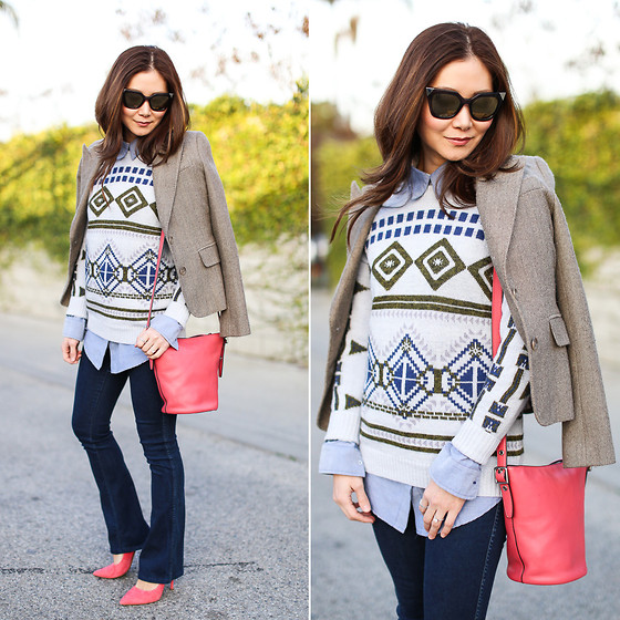 Elizabeth Lee (Stylewich) - Juicy Couture Blazer, Fendi Cat Eye Sunglasses, Coach Mini Duffle Bag, J. Crew Abstract Fair Isle Sweater, Madewell Jeans, Dkny Pumps, Anthropologie Shirt - Abstract Fair Isle