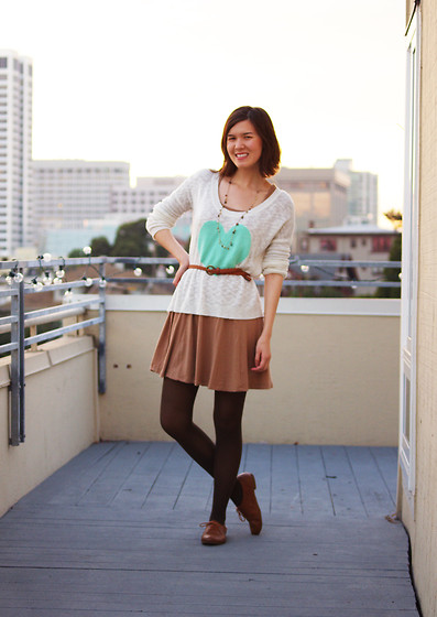 Kelsey Sutherland - Old Navy Beaded Necklace, Pacsun Scoop Neck Heart Sweater, Love Culture Brown Scoop Neck Dress, Gap Brown Tights, Primark Brown Oxfords - Pastel heart