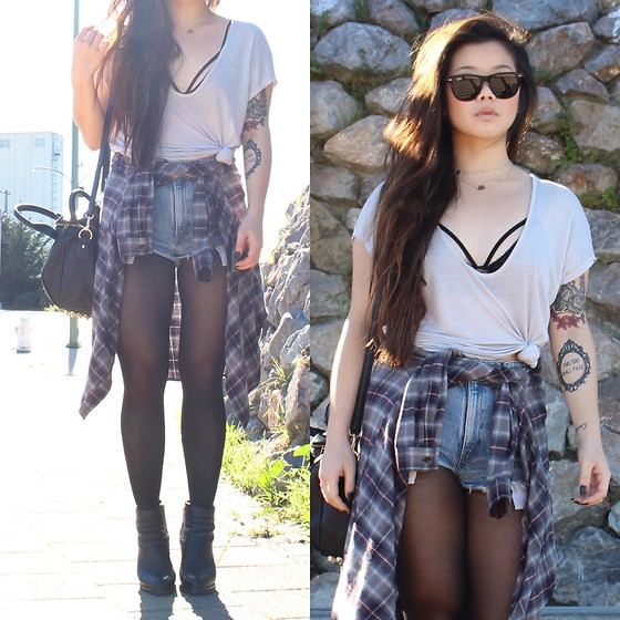 Amy Ha - Urban Outfitters Tee, Bdg Flannel, Shoemint Hope - Casual Sun(ny)days