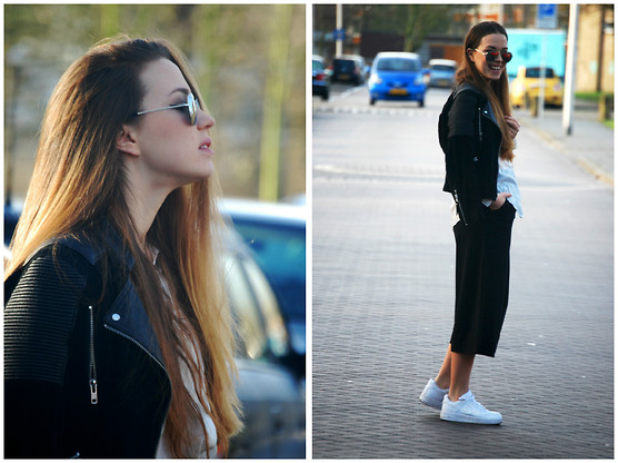 Braidsandeyeliner - Cos Pants, Nike Sneakers, Mango Leather Jacket - Streets