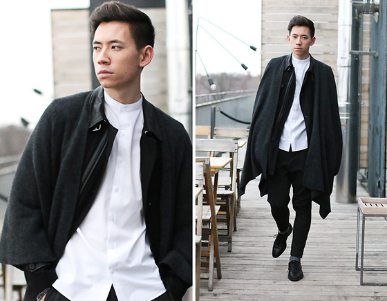 Frank Lin - Topman Cape, The Kooples Trenchcoat, Topman White Shirt - EMOZIONE