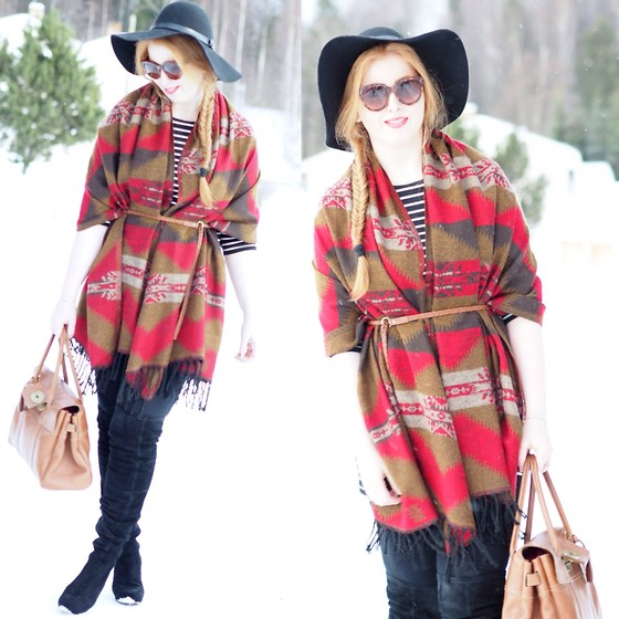 Ida - Accessorize Scarf As Poncho, H&M Hat, Céline Sunnies, Friis & Company Boots, Mulberry Bag, Vila Dress - Diva in red