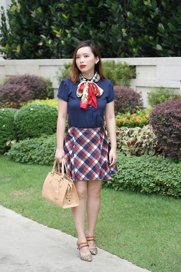 Prudence Yeo - Burberry Plaid Collar Polo, Padini Plaid Skirt - A Plaid Collar Top With A Plaid Skirt