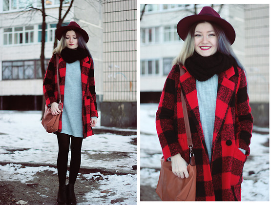 ♡Anita Kurkach♡ - Sheinside Coat, Missguided Hat, Missguided Dress, Asos Shoes, Asos Bag - Smile!