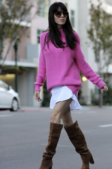 Lucia Mouet - Zara Knit, Michael Kors Boots - Pink for Valentine's Day