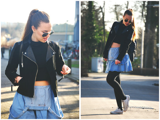 Braidsandeyeliner - Vintage Sweater, Primark Skirt, Converse Sneakers, Stradivarius Backpack, Mango Leather Jacket - S-S-Sunday