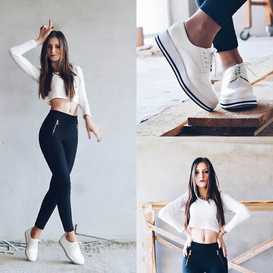 Emma Pavel - H&M High Waist Pants, H&M Stripes Top, Stradivarius White Sneakers - Black and white feeling