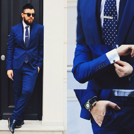 Gabriel - Zara Suit, Asos Tie Bar, Swarovski Cuff Links, Asos Bracelet, Giorgio Armani Shirt, Zara Shoes - Blue zone