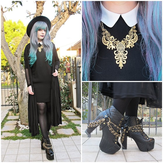 Federica D - Happiness Boutique Gold Necklace, Jeffrey Campbell Lita Coco, Stradivarious Black Dress - Gold day