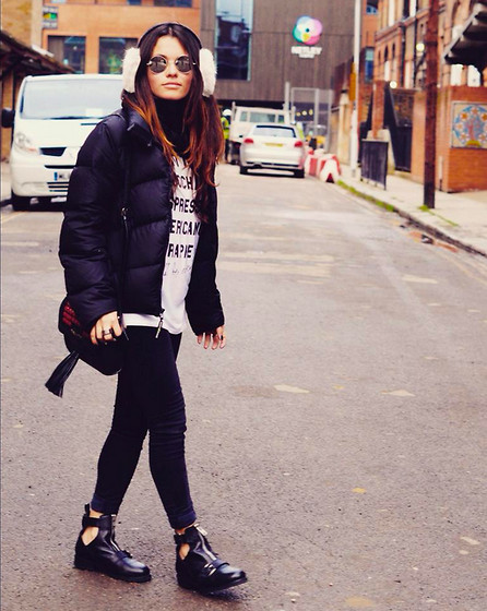 Claudia - Dkny Jacket, Missguided Tshirt, Kurt Geiger Boots - London Fashion Week day 1