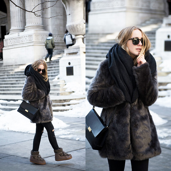 TIPHAINE MARIE - Coat, Jeans, Scarf, Bag, Boots - The New York City Public Library.