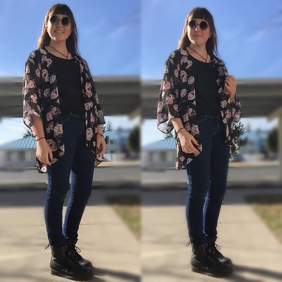 "Haalen Agee - H&M Floral Chiffon ""Cardigan"", Dr. Martens Dr Boots, H&M Dark Wash Jeans, Round Sunglasses - Black and Floral"