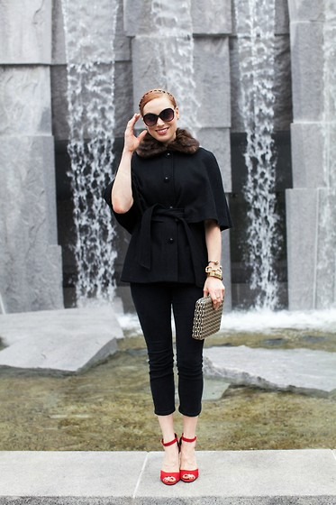 Caity Shreve - Betsey Johnson Capelet, Paige Denim Black Cropped Jeans, Shoemint Red & Gold Heels, Anthropologie Black & White Clutch - Caped