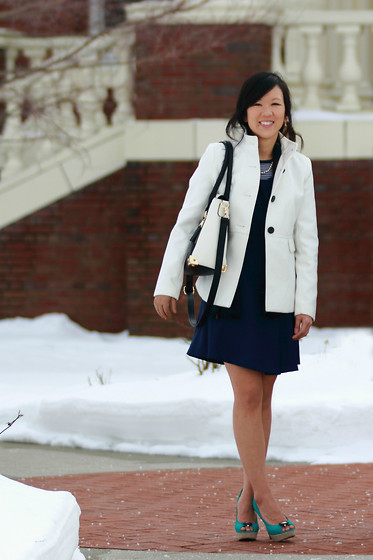 Jessica Swagman - Old Navy White Pea Coat, Jessica Swagman Navy Blue Dress, Gap Striped Shirt, Call It Spring Black + White Purse, Elle Peep Toe Pumps - East Coast Prep