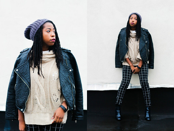 Martina McFarlane - H&M Plaid Trousers, Urban Outfitters Chunky Beanie, H&M Biker Jacket - Winter Daylight
