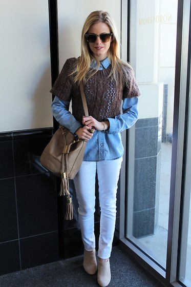Kim Tuttle - Kiind Of White Jeans, See By Chloé Bucket Bag, Dsw Shoes Boots, Halogen Chambray, Cotton Emporium Crop Top Sweater, Ray Ban Clubmaster Aluminum - Sweater + denim