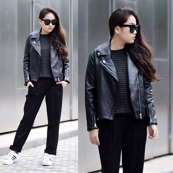 Meijia S - Cheap Monday Moto Jacket, Maison Martin Margiela Pants, Wannabk Striped Tee, Adidas Sneakers, Céline Sunglasses - Moto jacket day