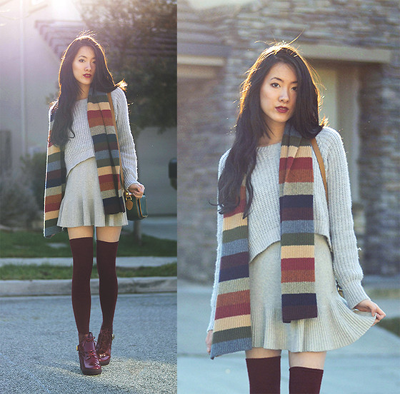 Jennifer Wang - Shien Cosmetics Cobra Lily Lipstick, Missguided Cropped Grey Sweater, Soxxy Burgundy Thigh High Socks - COZY