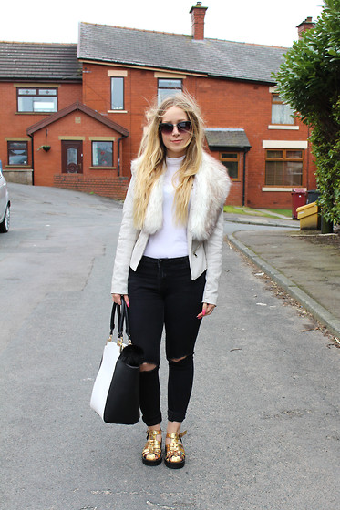 Emma Reay - River Island Grey Faux Fur Jacket, Primark White Roll Neck, Primark Monochrome Colour Block Bag, Dorothy Perkins Ripped Jeans, New Look Metallic Platforms - Casual Monochrome