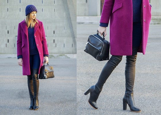 Olya Suvorova - H&M Blue Beanie, H&M Purple Wool Blend Coat, Zara Blue Woolen Sweater, Zara Skinny Jeans, & Other Stories Leather Handbag, Zara Over The Knee Leather Boots - Berries
