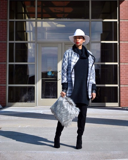 Kaiye R. - Asos Faux Fur Clutch, H&M Wool Hat, Vince Camuto Hollie Boots - Checkmate