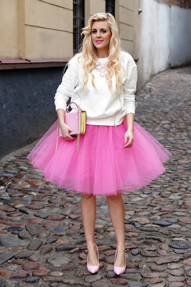 Estelle Fashion - Skirt, Ovs Sweatshirt - Pink Princess
