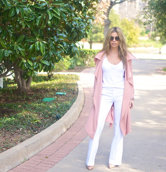 The Pearl Oyster - Windsor Store Trench, Express Pants, Christian Louboutin Shoes, Asos T Shirt - Mocha