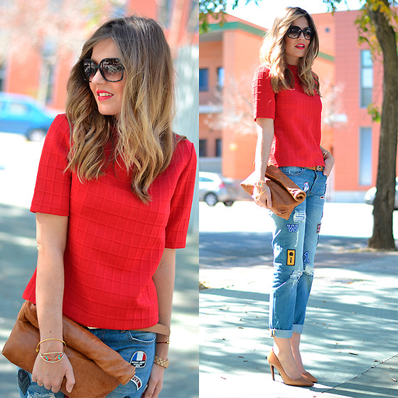 Helena Cueva - Dresslux Top, Choies Jeans, Barneto Clutch - Red